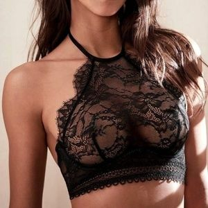 36C Victoria's Secret High Neck Bralette Bra Black